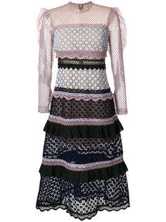 ярусное платье с вышивкой Self-Portrait