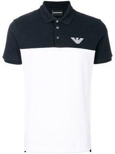 футболка-поло с двух тонах Emporio Armani