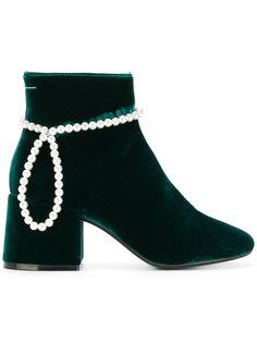 бархатные ботинки с отделкой Mm6 Maison Margiela