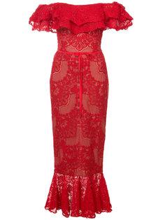 кружевное платье миди Marchesa Notte