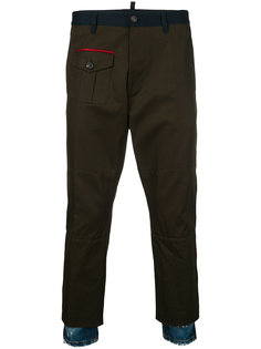 military trousers with denim hem Dsquared2