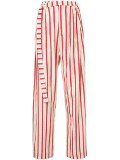 полосатые брюки с удлиненным поясом Christopher Esber