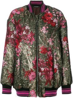 удлиненная куртка-бомбер с цветочной вышивкой Dolce & Gabbana