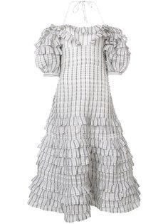 платье в клетку с рюшами Zimmermann