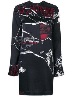 платье-шифт с принтом порванных деталей McQ Alexander McQueen