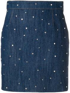 декорированная джинсовая мини-юбка Miu Miu