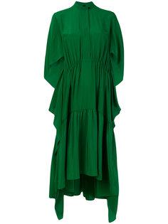 платье с воротником-стойкой и драпировками Petar Petrov