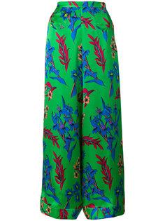 брюки-палаццо с цветочным принтом Etro