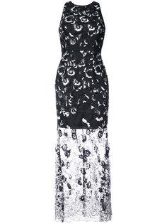 платье макси с цветочной аппликацией Aidan Mattox