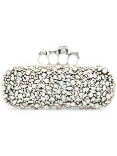 клатч с кристаллами и фирменной ручкой-кастетом Alexander McQueen