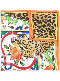 шарф Majolica с леопардовым принтом Dolce & Gabbana