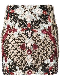 мини-юбка с цветочным и леопардовым принтом  Patbo