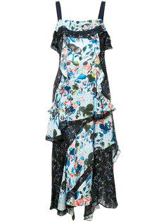 асимметричное платье с панельным дизайном и цветочным принтом Tanya Taylor