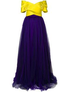 двухцветное платье с юбкой из тюля Delpozo