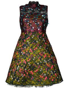 платье с вышитым кружевным верхним слоем Delpozo