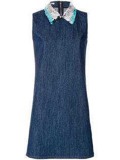 джинсовое платье с пайетками на воротнике Miu Miu
