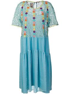 расклешенное платье  с цветочной вышивкой Antonio Marras