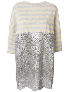 полосатая блузка с кружевной панелью Antonio Marras