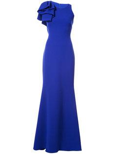 вечернее платье с оборками Badgley Mischka