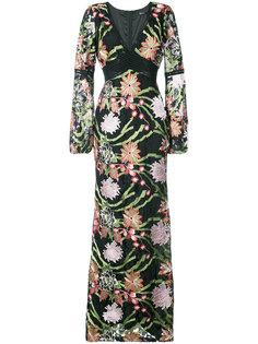 платье макси с цветочным рисунком Badgley Mischka