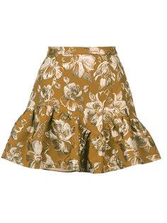 юбка мини с цветочным узором и оборками Love Shack Fancy