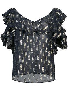 блузка с вышивкой и вырезными деталями Love Shack Fancy