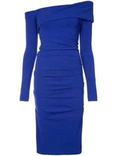 платье миди с открытыми плечами Nicole Miller