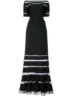 вечернее платье с прозрачной панелью и открытыми плечами Tadashi Shoji
