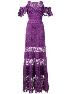 кружевное платье с вырезными деталями на плечах Tadashi Shoji