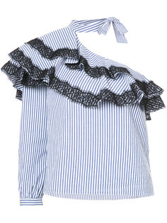 асимметричная блузка в полоску Veronica Beard