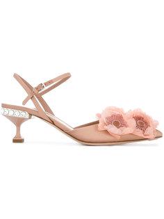декорированные туфли Peony  Miu Miu