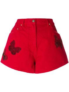 джинсовые шорты с принтом бабочек  Valentino