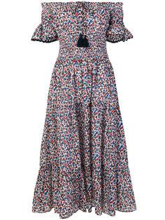 расклешенное платье с цветочным узором Tory Burch