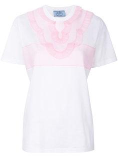 футболка с декорированным нагрудником Prada