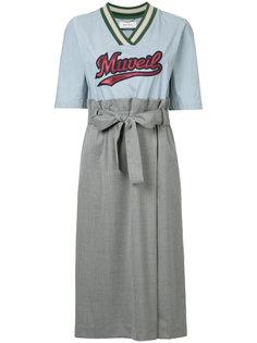 embroidered sports jersey midi dress Muveil