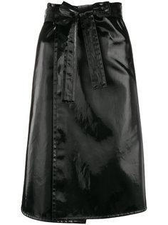 лакированная юбка с поясом Helmut Lang