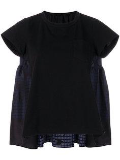 трапециевидная футболка с сетчатыми панелями Sacai