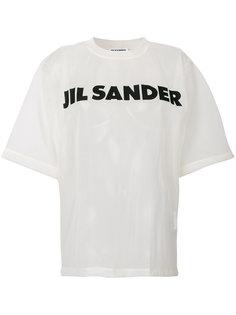 сетчатая футболка с логотипом  Jil Sander
