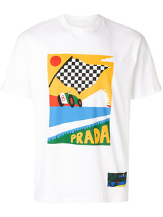 футболка с принтом racing flag Prada