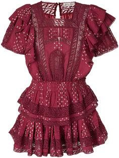 платье с вышивкой и оборками Love Shack Fancy