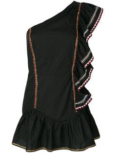 платье на одно плечо с рюшами Love Shack Fancy