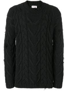 свитер вязки косичкой с рваной отделкой Palm Angels