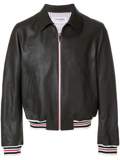 кожаная куртка с полосками Thom Browne