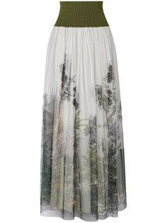 плиссированная юбка с цветочным принтом Alberta Ferretti
