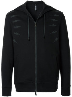 lightning bolt zipped hoodie Neil Barrett