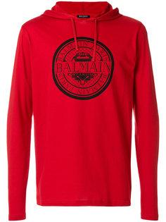 футболка с капюшоном и принтом-логотипом  Balmain