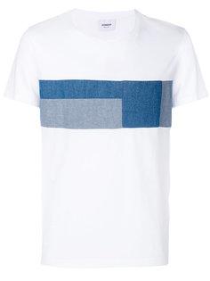футболка с джинсовыми заплатками в стилистике пэчворк Dondup
