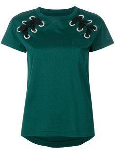 футболка со шнуровкой и люверсами Sacai