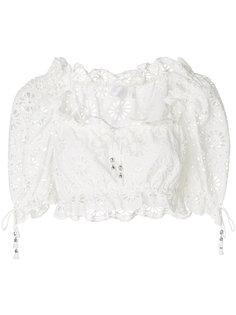 укороченная блузка с вышивкой ришелье  Zimmermann