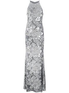 платье с вышивкой и пайетками  Badgley Mischka